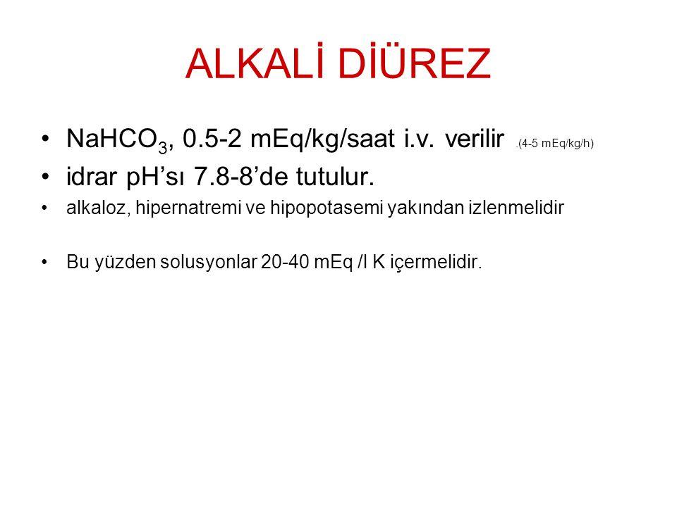 ALKALİ DİÜREZ NaHCO 3, 0.5-2 mEq/kg/saat i.v. verilir.(4-5 mEq/kg/h) idrar pH'sı 7.8-8'de tutulur. alkaloz, hipernatremi ve hipopotasemi yakından izle
