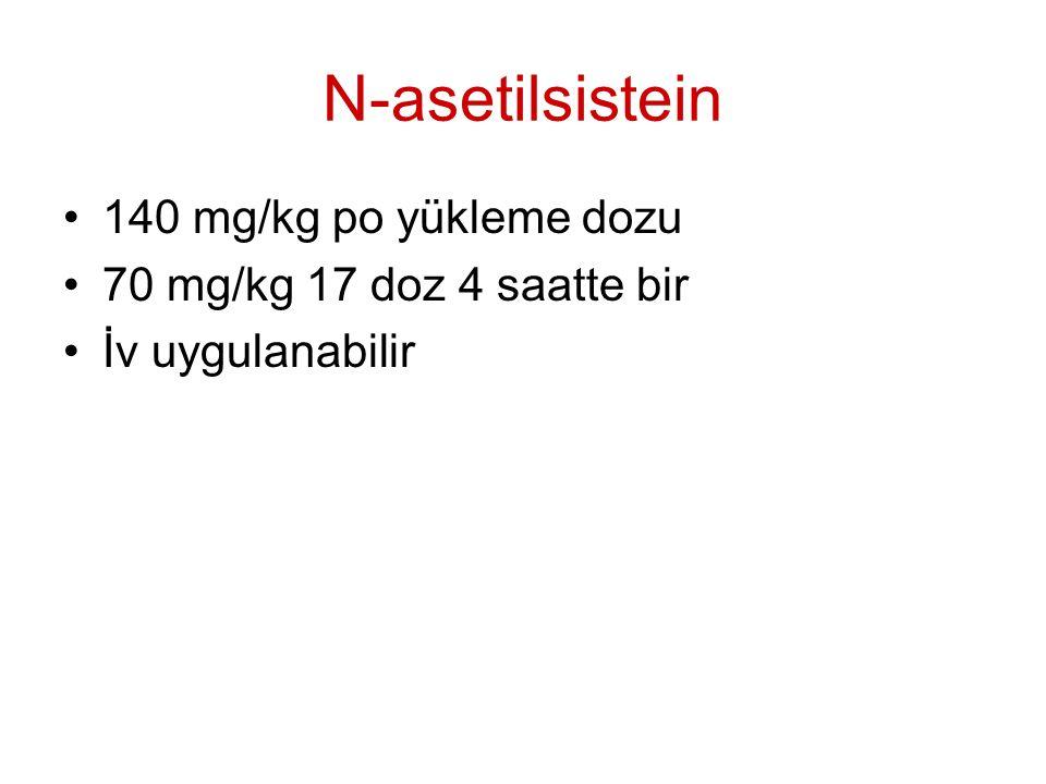 N-asetilsistein 140 mg/kg po yükleme dozu 70 mg/kg 17 doz 4 saatte bir İv uygulanabilir