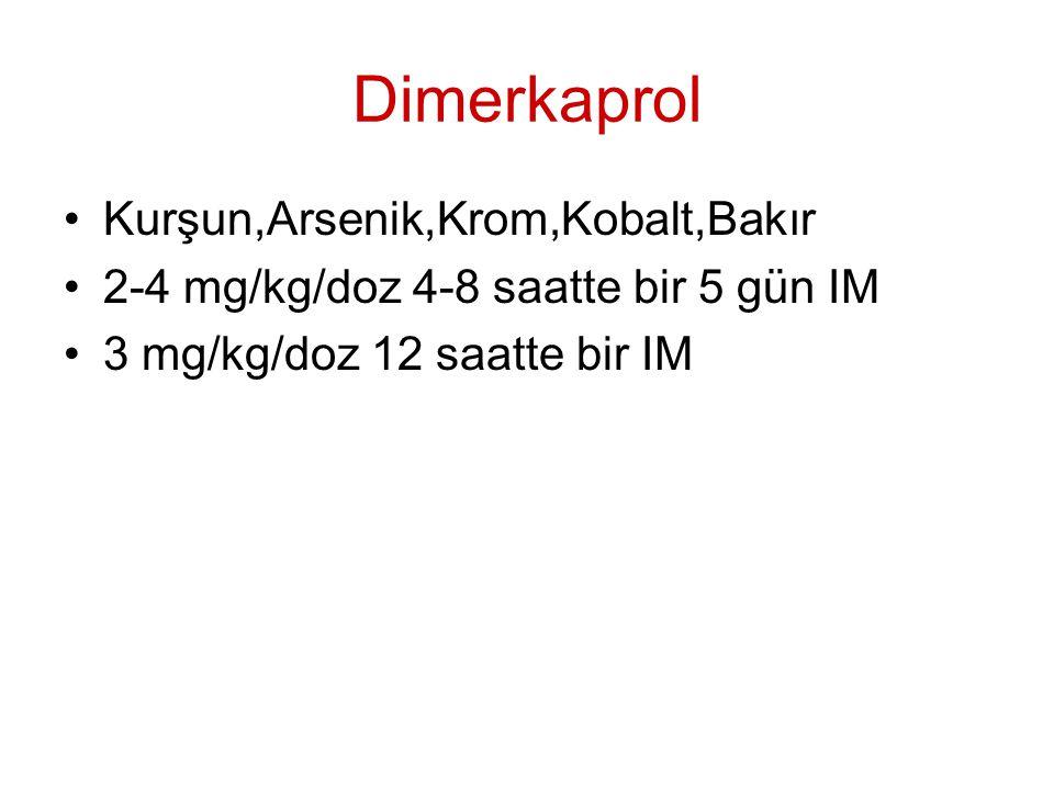 Dimerkaprol Kurşun,Arsenik,Krom,Kobalt,Bakır 2-4 mg/kg/doz 4-8 saatte bir 5 gün IM 3 mg/kg/doz 12 saatte bir IM
