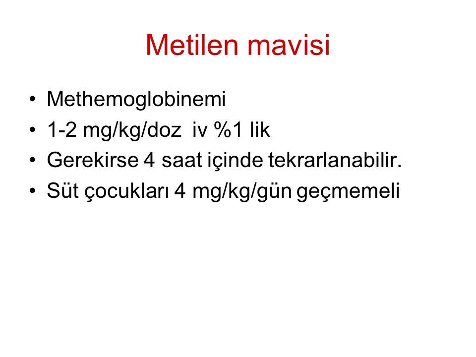 Metilen mavisi Methemoglobinemi 1-2 mg/kg/doz iv %1 lik Gerekirse 4 saat içinde tekrarlanabilir. Süt çocukları 4 mg/kg/gün geçmemeli
