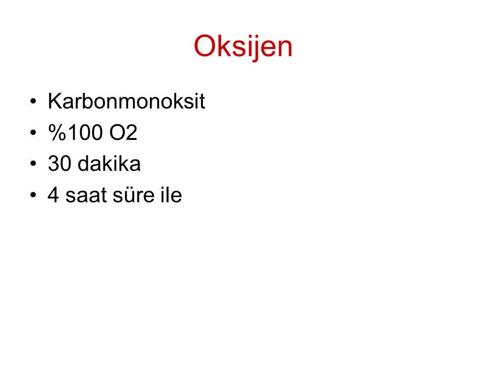 Oksijen Karbonmonoksit %100 O2 30 dakika 4 saat süre ile