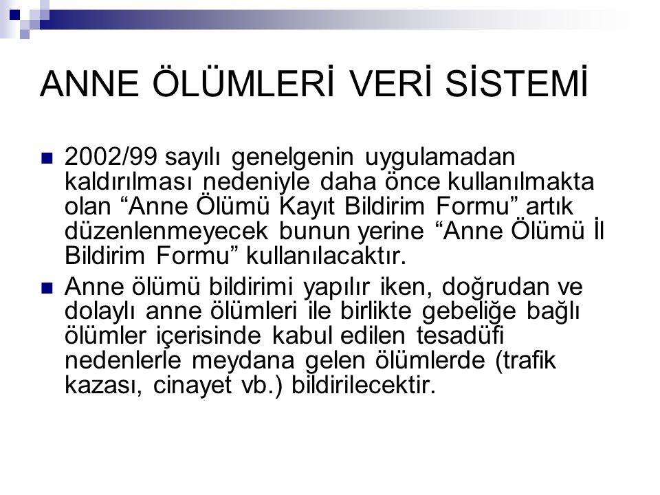 """ANNE ÖLÜMLERİ VERİ SİSTEMİ 2002/99 sayılı genelgenin uygulamadan kaldırılması nedeniyle daha önce kullanılmakta olan """"Anne Ölümü Kayıt Bildirim Formu"""""""