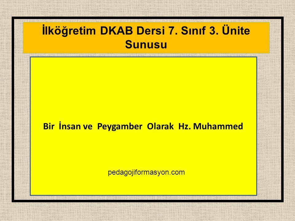 İlköğretim DKAB Dersi 7. Sınıf 3. Ünite Sunusu Bir İnsan ve Peygamber Olarak Hz. Muhammed pedagojiformasyon.com