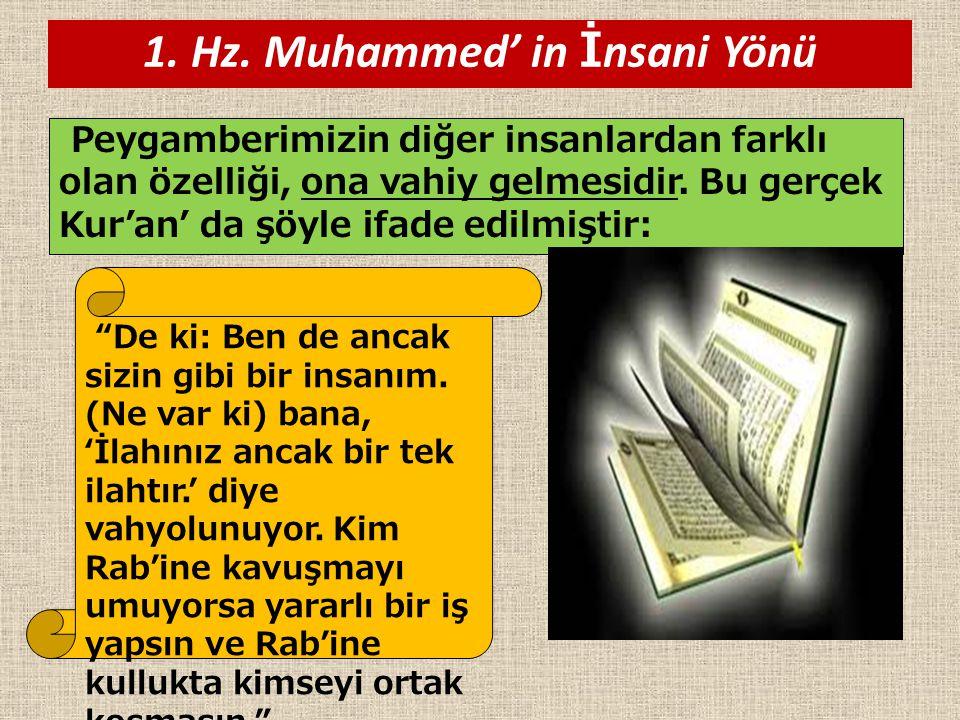 1. Hz. Muhammed' in İ nsani Yönü Peygamberimizin diğer insanlardan farklı olan özelliği, ona vahiy gelmesidir. Bu gerçek Kur'an' da şöyle ifade edilmi