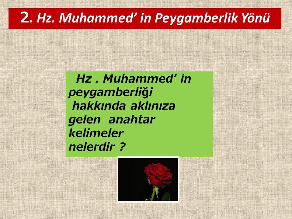 2. Hz. Muhammed' in Peygamberlik Yönü Hz. Muhammed' in peygamberliği hakkında aklınıza gelen anahtar kelimeler nelerdir ?