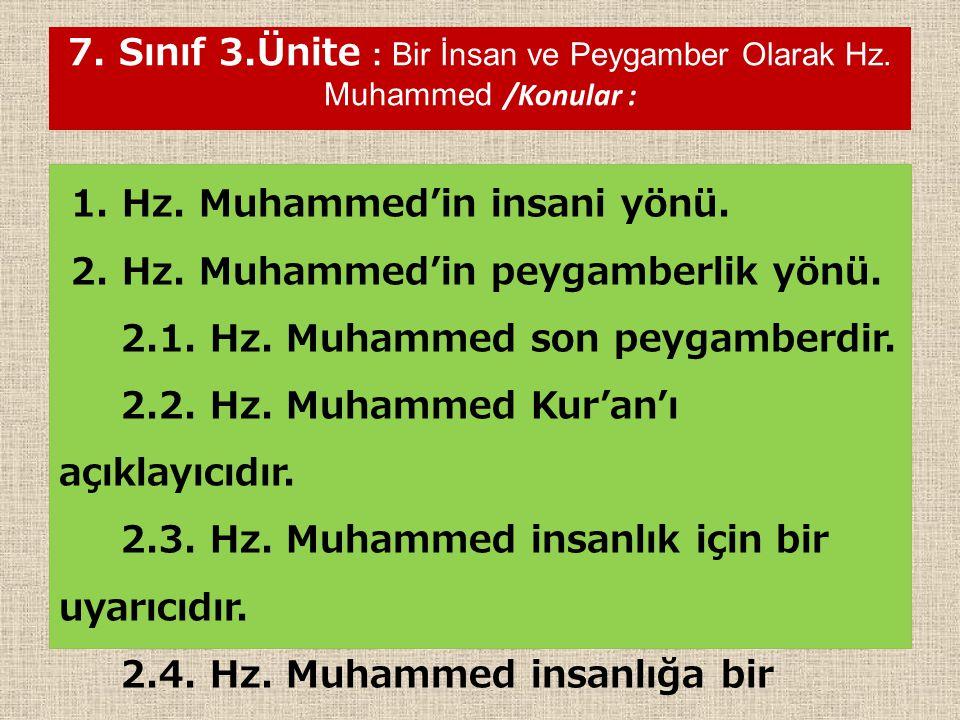 7. Sınıf 3.Ünite : Bir İnsan ve Peygamber Olarak Hz. Muhammed /Konular : 1. Hz. Muhammed'in insani yönü. 2. Hz. Muhammed'in peygamberlik yönü. 2.1. Hz