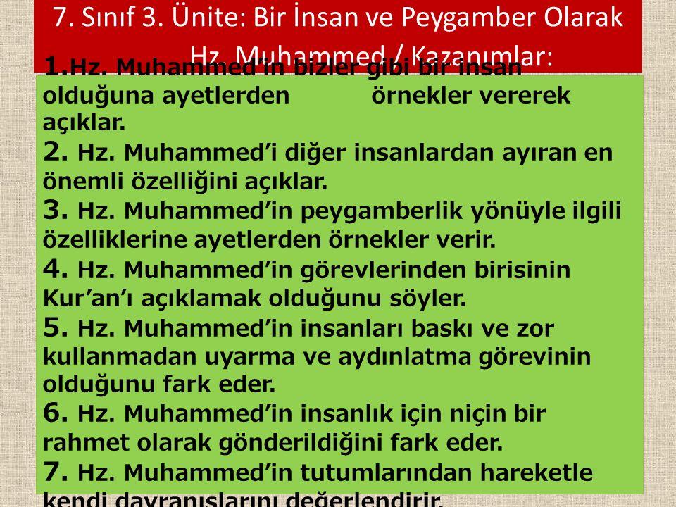 7. Sınıf 3. Ünite: Bir İnsan ve Peygamber Olarak Hz. Muhammed / Kazanımlar: 1. Hz. Muhammed'in bizler gibi bir insan olduğuna ayetlerden örnekler vere