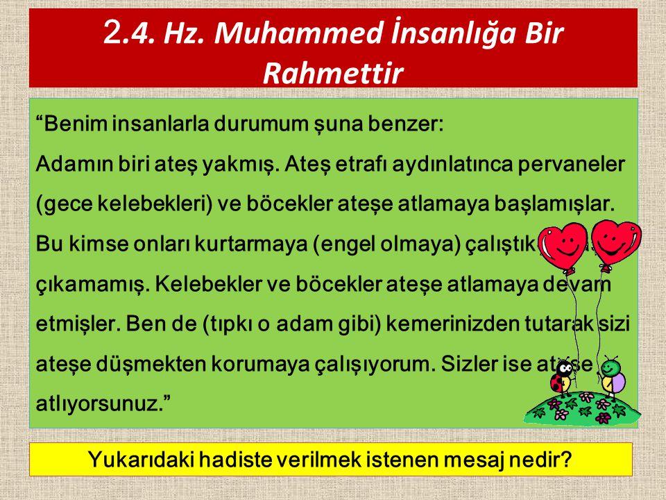"""2.4. Hz. Muhammed İnsanlığa Bir Rahmettir """"Benim insanlarla durumum şuna benzer: Adamın biri ateş yakmış. Ateş etrafı aydınlatınca pervaneler (gece ke"""
