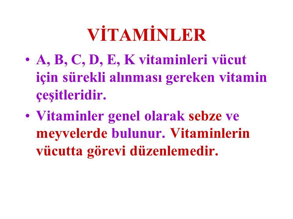 VİTAMİNLER A, B, C, D, E, K vitaminleri vücut için sürekli alınması gereken vitamin çeşitleridir. Vitaminler genel olarak sebze ve meyvelerde bulunur.