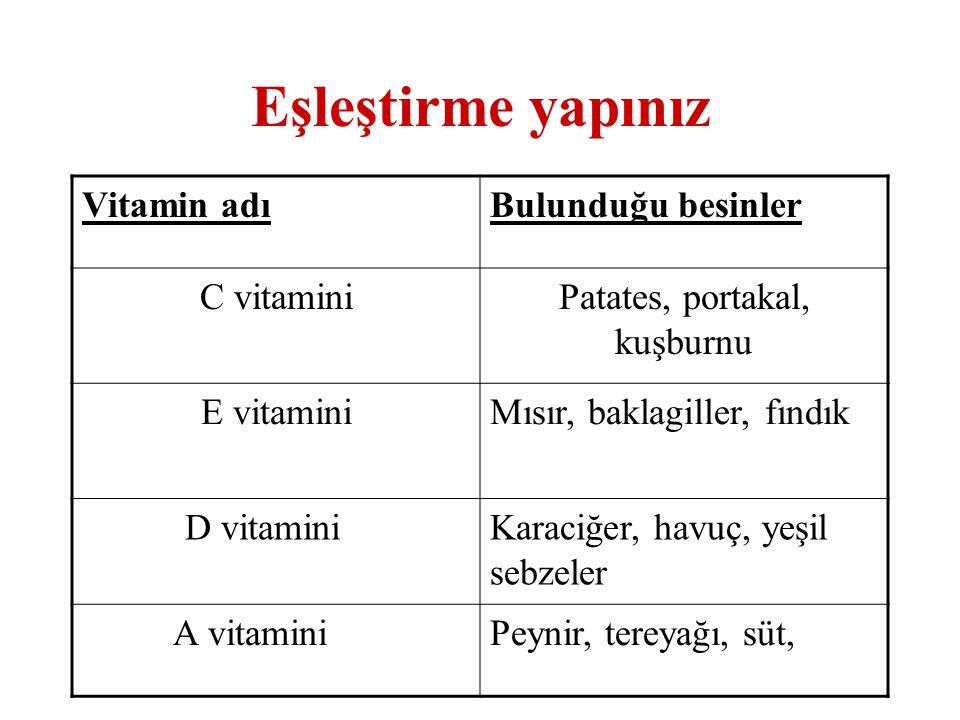 Eşleştirme yapınız Vitamin adıBulunduğu besinler C vitaminiPatates, portakal, kuşburnu E vitaminiMısır, baklagiller, fındık D vitaminiKaraciğer, havuç