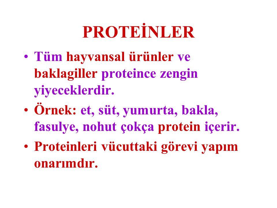 PROTEİNLER Tüm hayvansal ürünler ve baklagiller proteince zengin yiyeceklerdir. Örnek: et, süt, yumurta, bakla, fasulye, nohut çokça protein içerir. P