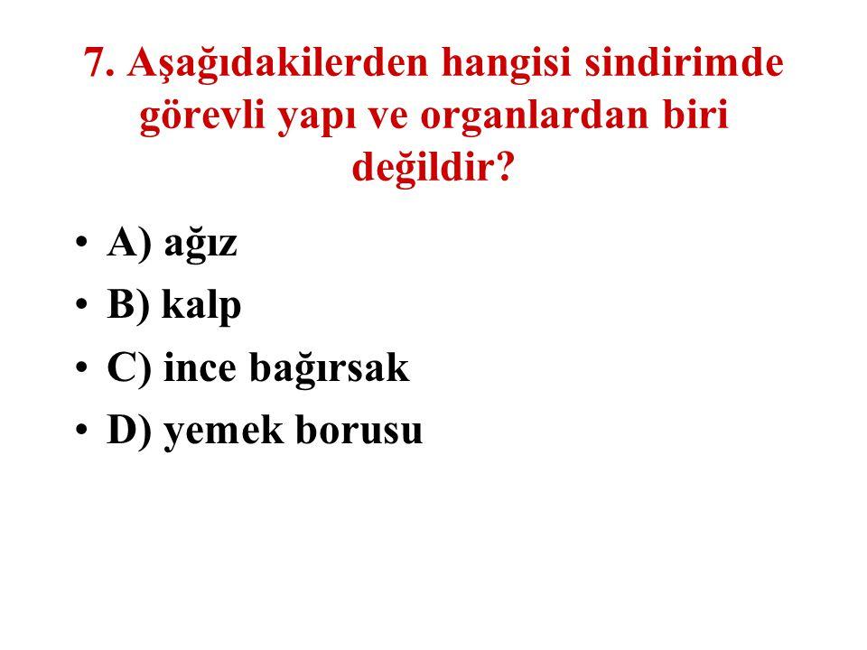 7. Aşağıdakilerden hangisi sindirimde görevli yapı ve organlardan biri değildir? A) ağız B) kalp C) ince bağırsak D) yemek borusu