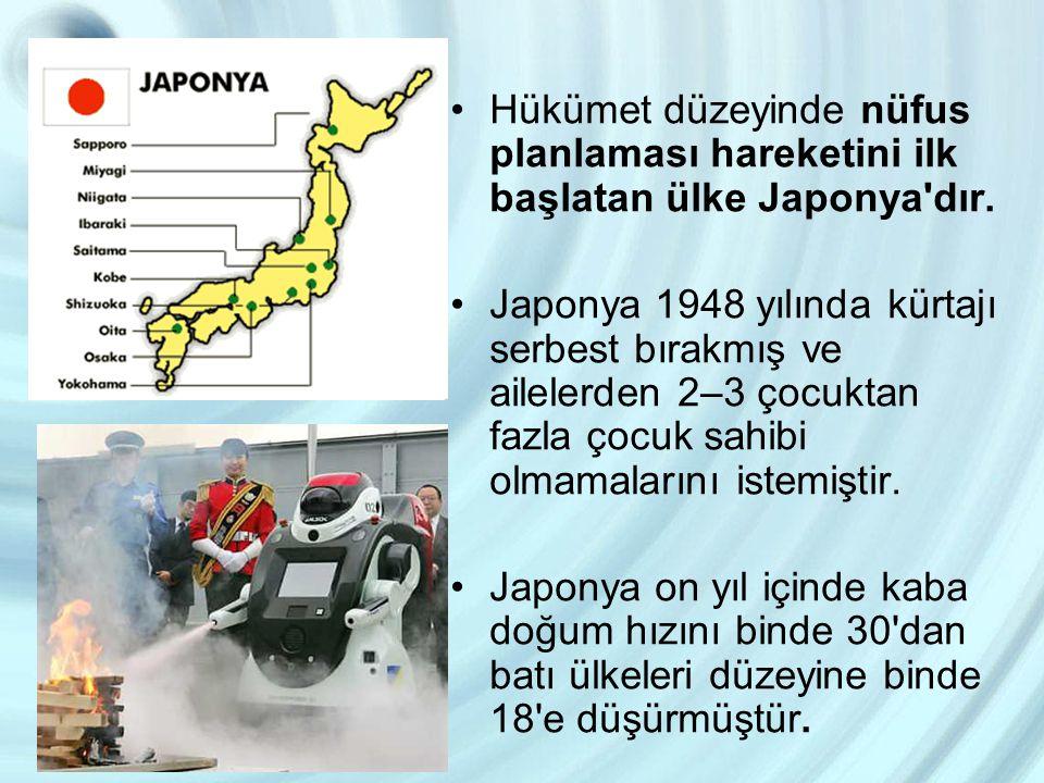 Hükümet düzeyinde nüfus planlaması hareketini ilk başlatan ülke Japonya'dır. Japonya 1948 yılında kürtajı serbest bırakmış ve ailelerden 2–3 çocuktan
