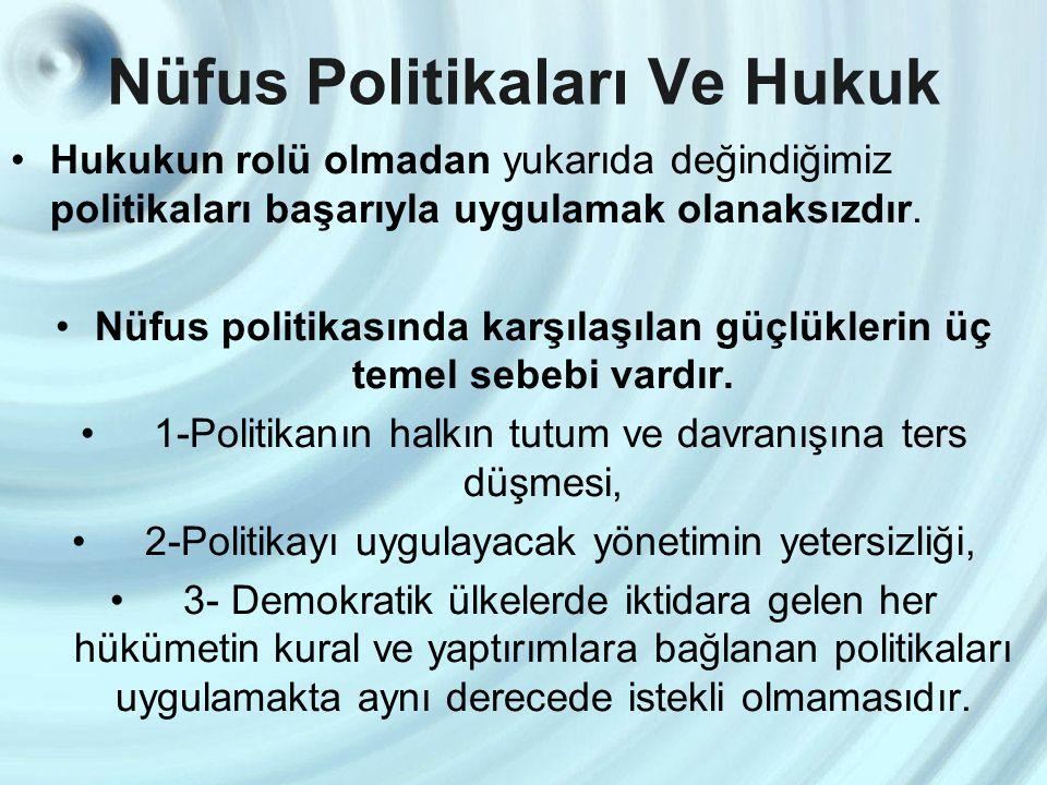 Nüfus Politikaları Ve Hukuk Hukukun rolü olmadan yukarıda değindiğimiz politikaları başarıyla uygulamak olanaksızdır. Nüfus politikasında karşılaşılan