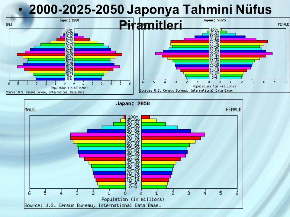 2000-2025-2050 Japonya Tahmini Nüfus Piramitleri