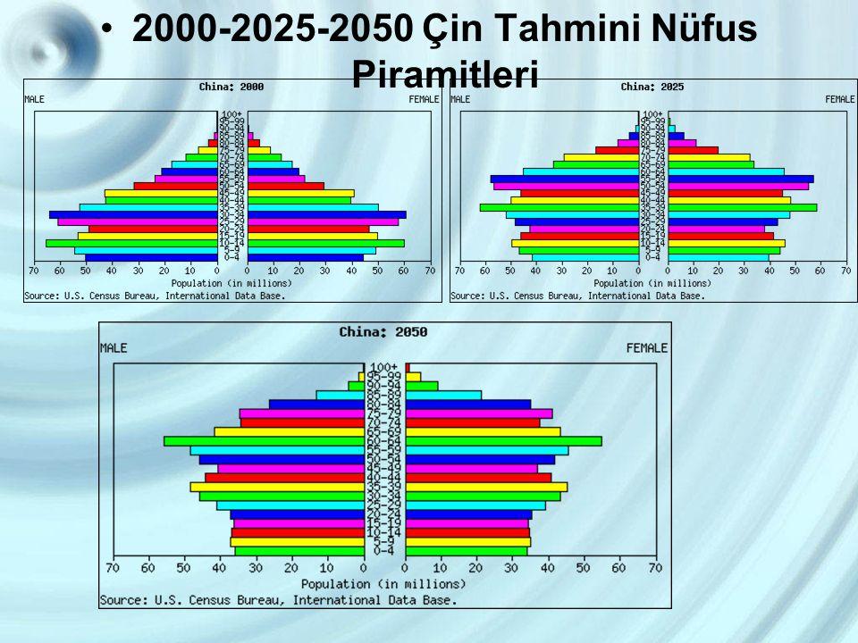 2000-2025-2050 Çin Tahmini Nüfus Piramitleri