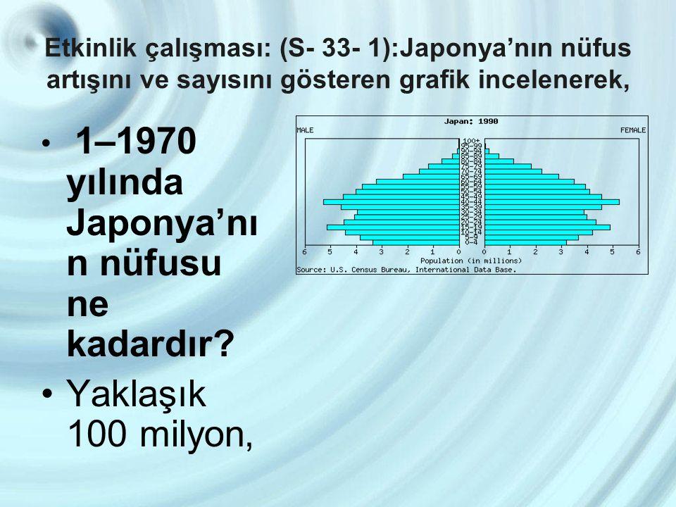 Etkinlik çalışması: (S- 33- 1):Japonya'nın nüfus artışını ve sayısını gösteren grafik incelenerek, 1–1970 yılında Japonya'nı n nüfusu ne kadardır? Yak