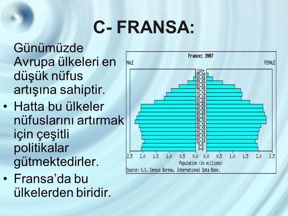 C- FRANSA: Günümüzde Avrupa ülkeleri en düşük nüfus artışına sahiptir. Hatta bu ülkeler nüfuslarını artırmak için çeşitli politikalar gütmektedirler.