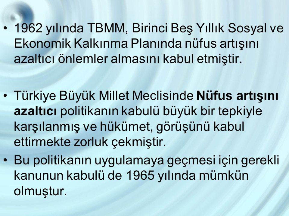 1962 yılında TBMM, Birinci Beş Yıllık Sosyal ve Ekonomik Kalkınma Planında nüfus artışını azaltıcı önlemler almasını kabul etmiştir. Türkiye Büyük Mil