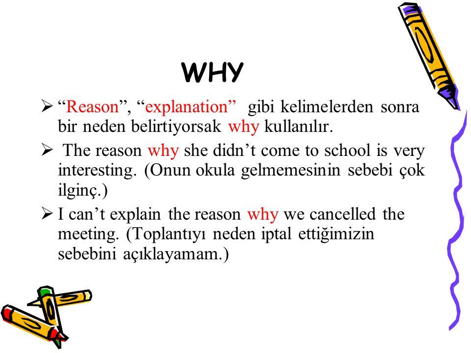 WHY  Reason , explanation gibi kelimelerden sonra bir neden belirtiyorsak why kullanılır.