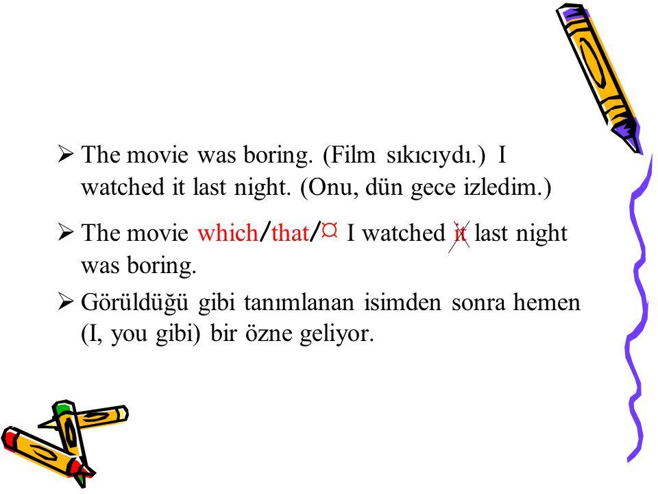  The movie was boring.(Film sıkıcıydı.) I watched it last night.