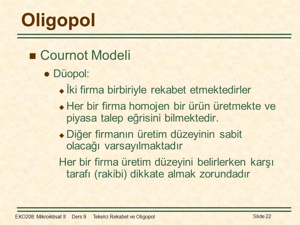 EKO208: Mikroiktisat II Ders 9 Tekelci Rekabet ve Oligopol Slide 22 Oligopol Cournot Modeli Düopol:  İki firma birbiriyle rekabet etmektedirler  Her bir firma homojen bir ürün üretmekte ve piyasa talep eğrisini bilmektedir.