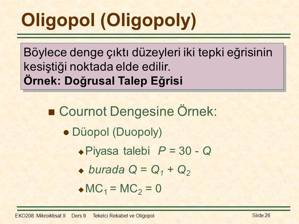 EKO208: Mikroiktisat II Ders 9 Tekelci Rekabet ve Oligopol Slide 26 Oligopol (Oligopoly) Cournot Dengesine Örnek: Düopol (Duopoly)  Piyasa talebi P = 30 - Q  burada Q = Q 1 + Q 2  MC 1 = MC 2 = 0 Böylece denge çıktı düzeyleri iki tepki eğrisinin kesiştiği noktada elde edilir.