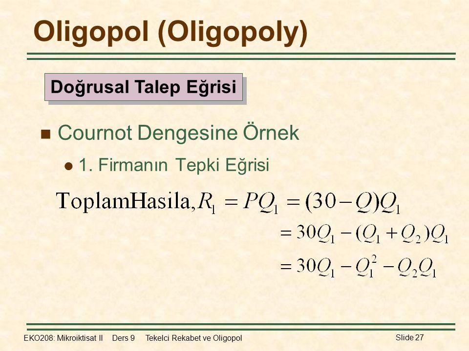 EKO208: Mikroiktisat II Ders 9 Tekelci Rekabet ve Oligopol Slide 27 Oligopol (Oligopoly) Cournot Dengesine Örnek 1. Firmanın Tepki Eğrisi Doğrusal Tal