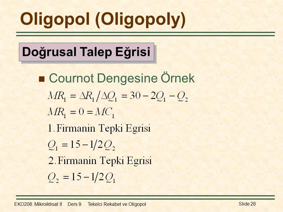 EKO208: Mikroiktisat II Ders 9 Tekelci Rekabet ve Oligopol Slide 28 Oligopol (Oligopoly) Cournot Dengesine Örnek Doğrusal Talep Eğrisi