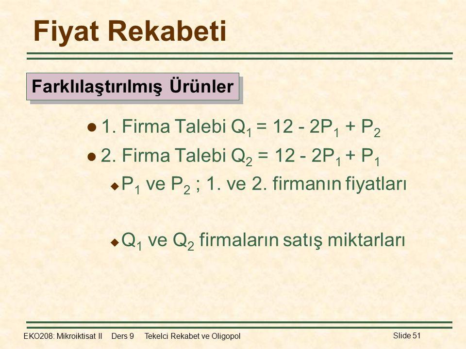 EKO208: Mikroiktisat II Ders 9 Tekelci Rekabet ve Oligopol Slide 51 Fiyat Rekabeti 1. Firma Talebi Q 1 = 12 - 2P 1 + P 2 2. Firma Talebi Q 2 = 12 - 2P