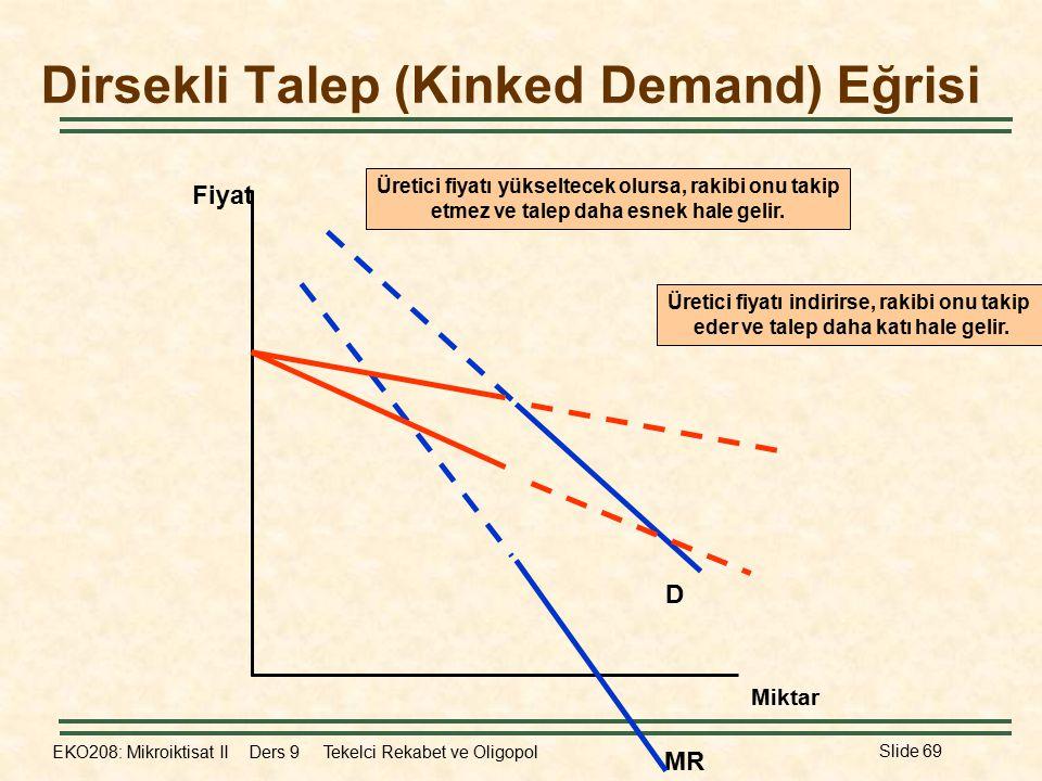 EKO208: Mikroiktisat II Ders 9 Tekelci Rekabet ve Oligopol Slide 69 Dirsekli Talep (Kinked Demand) Eğrisi Fiyat Miktar MR D Üretici fiyatı indirirse, rakibi onu takip eder ve talep daha katı hale gelir.