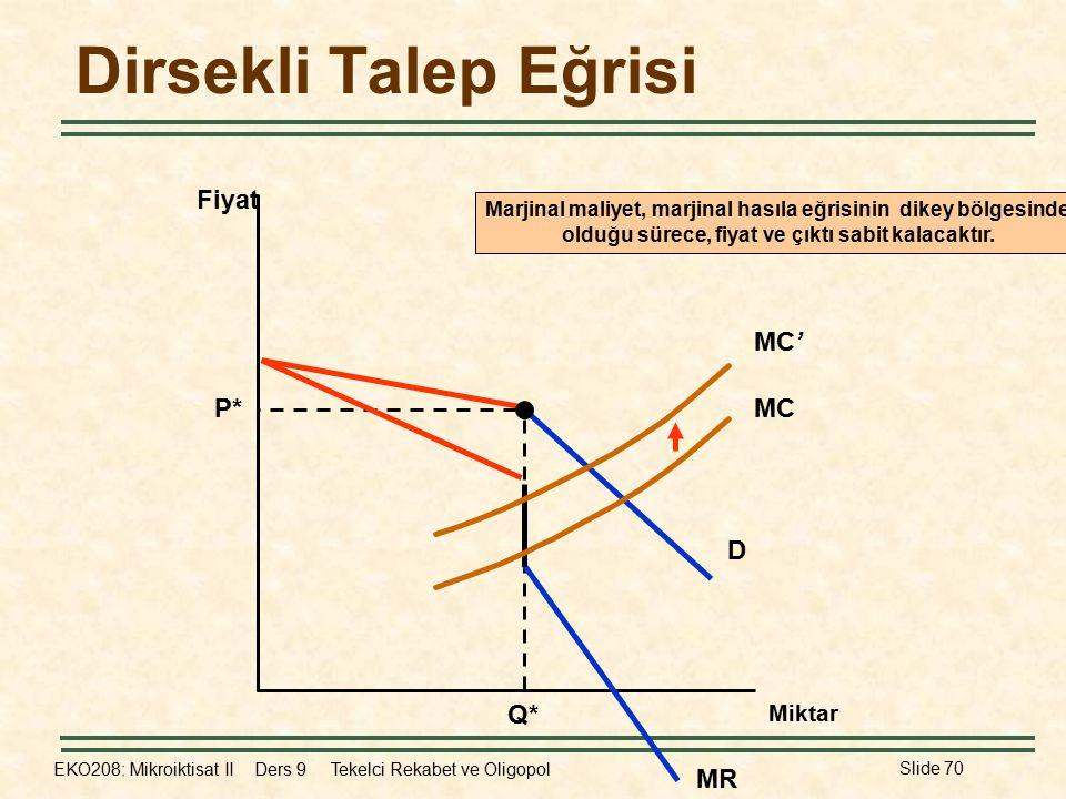 EKO208: Mikroiktisat II Ders 9 Tekelci Rekabet ve Oligopol Slide 70 Dirsekli Talep Eğrisi Fiyat D P* Q* MC MC' Marjinal maliyet, marjinal hasıla eğris