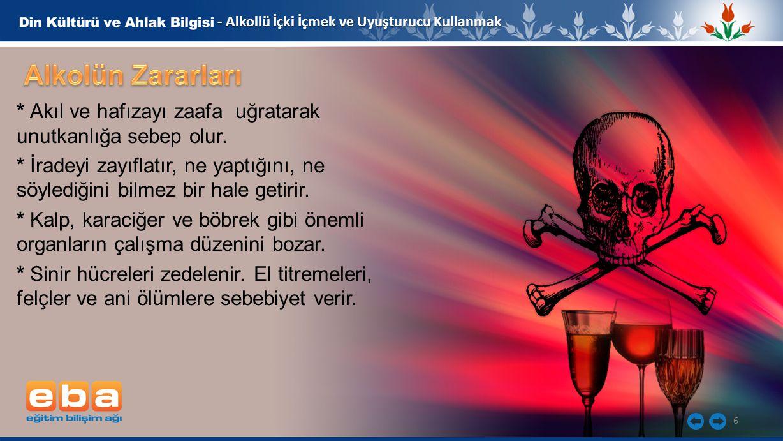 6 - Alkollü İçki İçmek ve Uyuşturucu Kullanmak * Akıl ve hafızayı zaafa uğratarak unutkanlığa sebep olur.