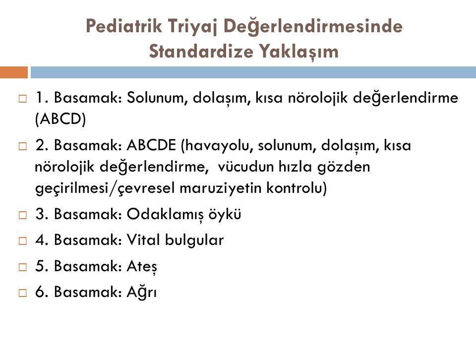 Pediatrik Triyaj De ğ erlendirmesinde Standardize Yaklaşım  1. Basamak: Solunum, dolaşım, kısa nörolojik de ğ erlendirme (ABCD)  2. Basamak: ABCDE (