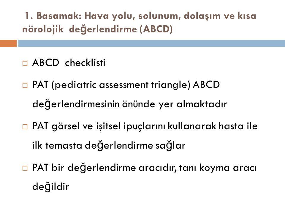 1. Basamak: Hava yolu, solunum, dolaşım ve kısa nörolojik de ğ erlendirme (ABCD)  ABCD checklisti  PAT (pediatric assessment triangle) ABCD de ğ erl
