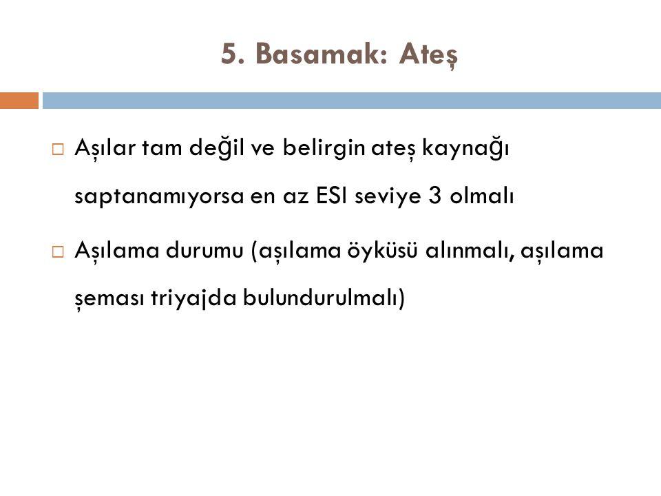 5. Basamak: Ateş  Aşılar tam de ğ il ve belirgin ateş kayna ğ ı saptanamıyorsa en az ESI seviye 3 olmalı  Aşılama durumu (aşılama öyküsü alınmalı, a