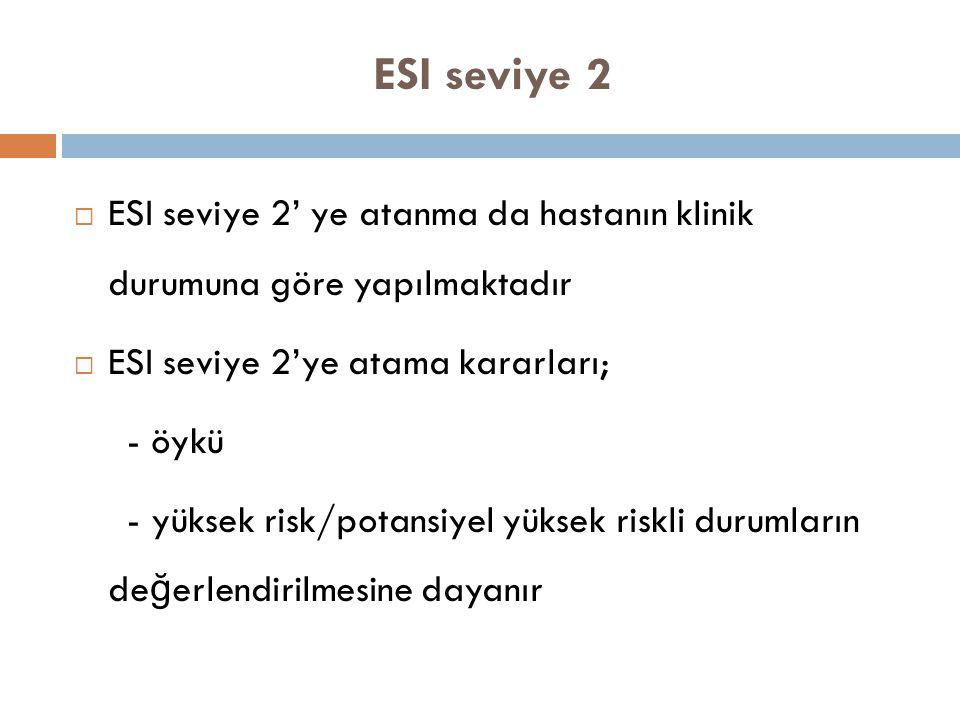 ESI seviye 2  ESI seviye 2' ye atanma da hastanın klinik durumuna göre yapılmaktadır  ESI seviye 2'ye atama kararları; - öykü - yüksek risk/potansiy