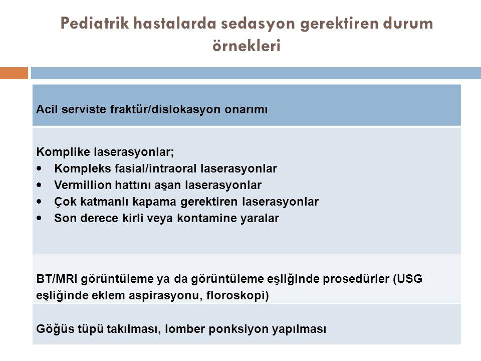 Pediatrik hastalarda sedasyon gerektiren durum örnekleri Acil serviste fraktür/dislokasyon onarımı Komplike laserasyonlar;  Kompleks fasial/intraoral