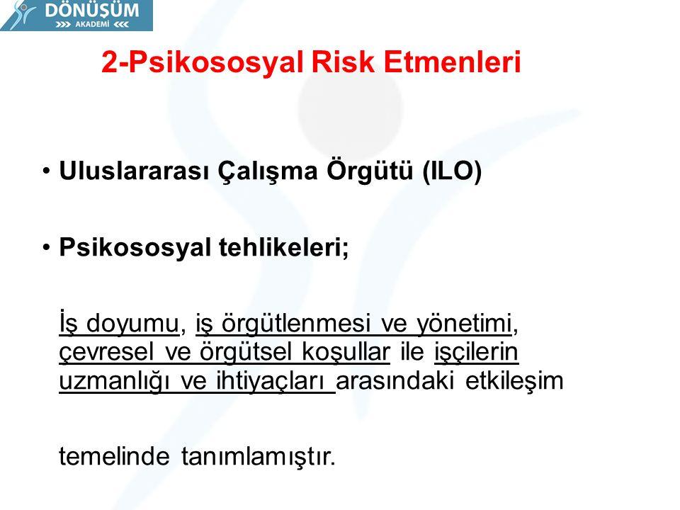 2-Psikososyal Risk Etmenleri Uluslararası Çalışma Örgütü (ILO) Psikososyal tehlikeleri; İş doyumu, iş örgütlenmesi ve yönetimi, çevresel ve örgütsel k