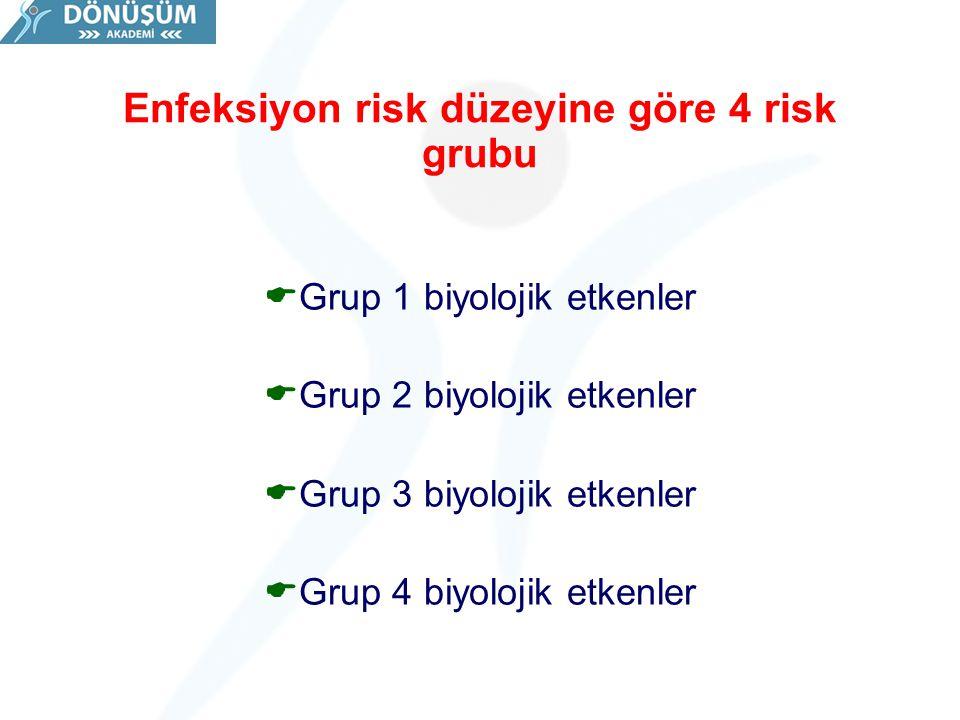 Enfeksiyon risk düzeyine göre 4 risk grubu  Grup 1 biyolojik etkenler  Grup 2 biyolojik etkenler  Grup 3 biyolojik etkenler  Grup 4 biyolojik etke