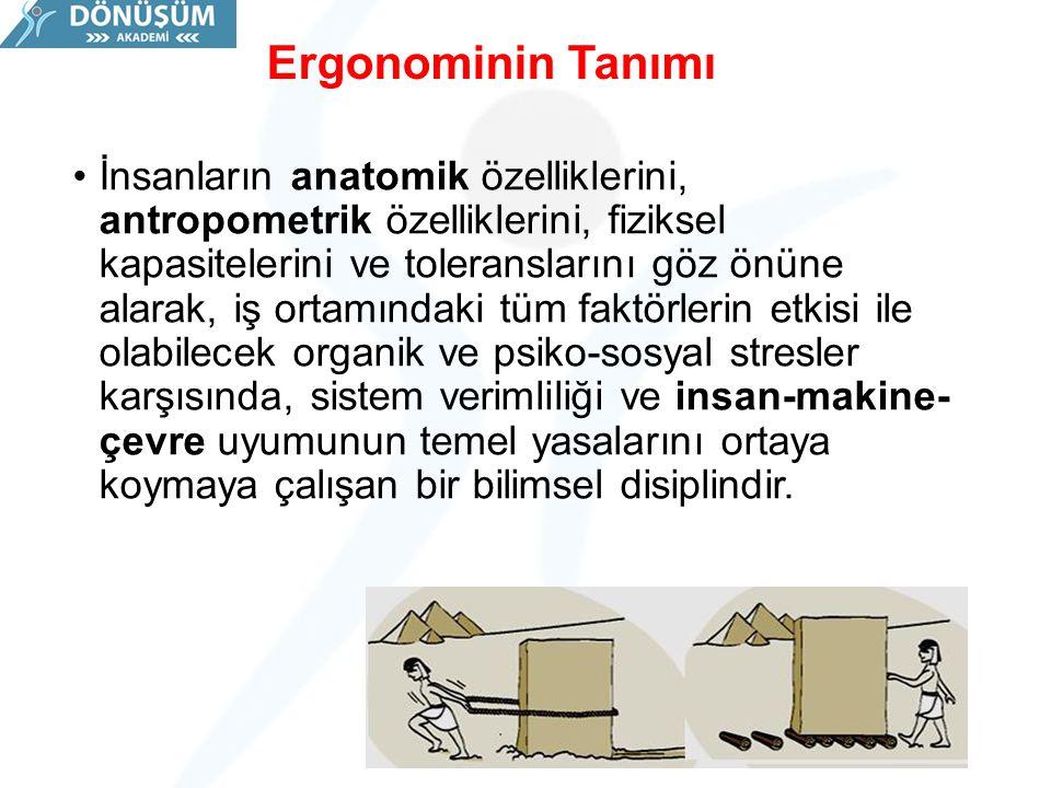 Ergonominin Tanımı İnsanların anatomik özelliklerini, antropometrik özelliklerini, fiziksel kapasitelerini ve toleranslarını göz önüne alarak, iş orta