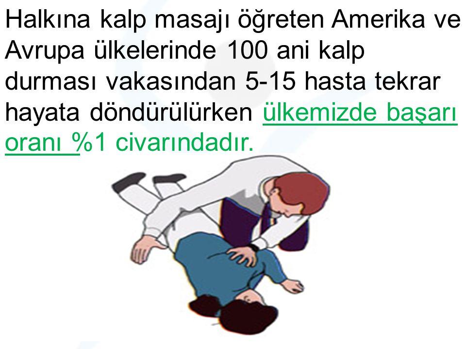 Halkına kalp masajı öğreten Amerika ve Avrupa ülkelerinde 100 ani kalp durması vakasından 5-15 hasta tekrar hayata döndürülürken ülkemizde başarı oran