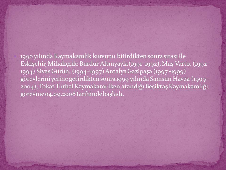 1990 yılında Kaymakamlık kursunu bitirdikten sonra sırası ile Eskişehir, Mihalıççık; Burdur Altınyayla (1991–1992), Muş Varto, (1992– 1994) Sivas Gürün, (1994–1997) Antalya Gazipaşa (1997 -1999) görevlerini yerine getirdikten sonra 1999 yılında Samsun Havza (1999– 2004), Tokat Turhal Kaymakamı iken atandığı Beşiktaş Kaymakamlığı görevine 04.09.2008 tarihinde başladı.