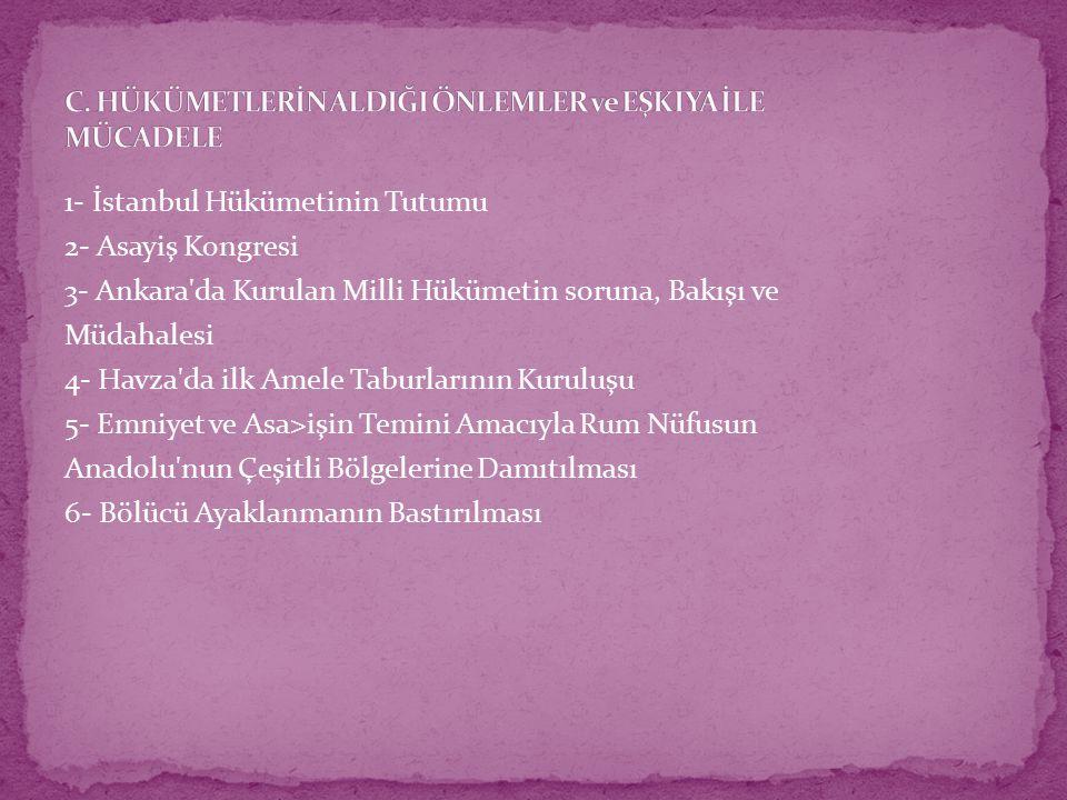 1- İstanbul Hükümetinin Tutumu 2- Asayiş Kongresi 3- Ankara da Kurulan Milli Hükümetin soruna, Bakışı ve Müdahalesi 4- Havza da ilk Amele Taburlarının Kuruluşu 5- Emniyet ve Asa>işin Temini Amacıyla Rum Nüfusun Anadolu nun Çeşitli Bölgelerine Damıtılması 6- Bölücü Ayaklanmanın Bastırılması