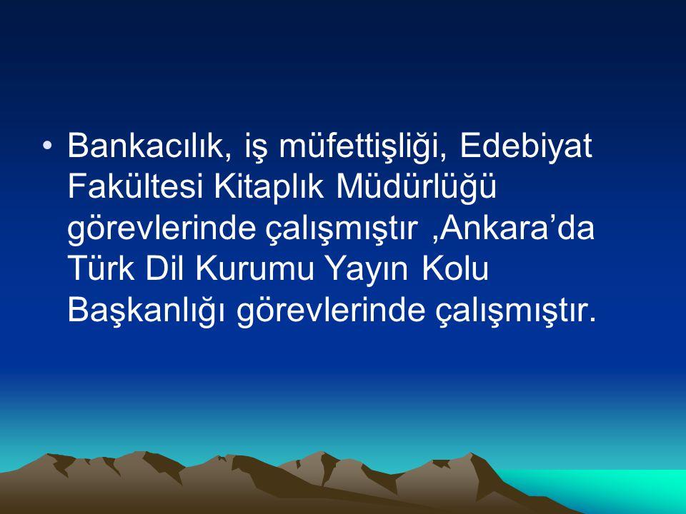 Bankacılık, iş müfettişliği, Edebiyat Fakültesi Kitaplık Müdürlüğü görevlerinde çalışmıştır,Ankara'da Türk Dil Kurumu Yayın Kolu Başkanlığı görevlerin