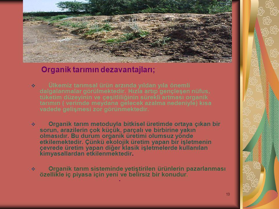 19 Organik tarımın dezavantajları;  Ülkemiz tarımsal ürün arzında yıldan yıla önemli dalgalanmalar görülmektedir.