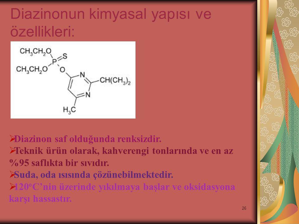 26 Diazinonun kimyasal yapısı ve özellikleri:  Diazinon saf olduğunda renksizdir.