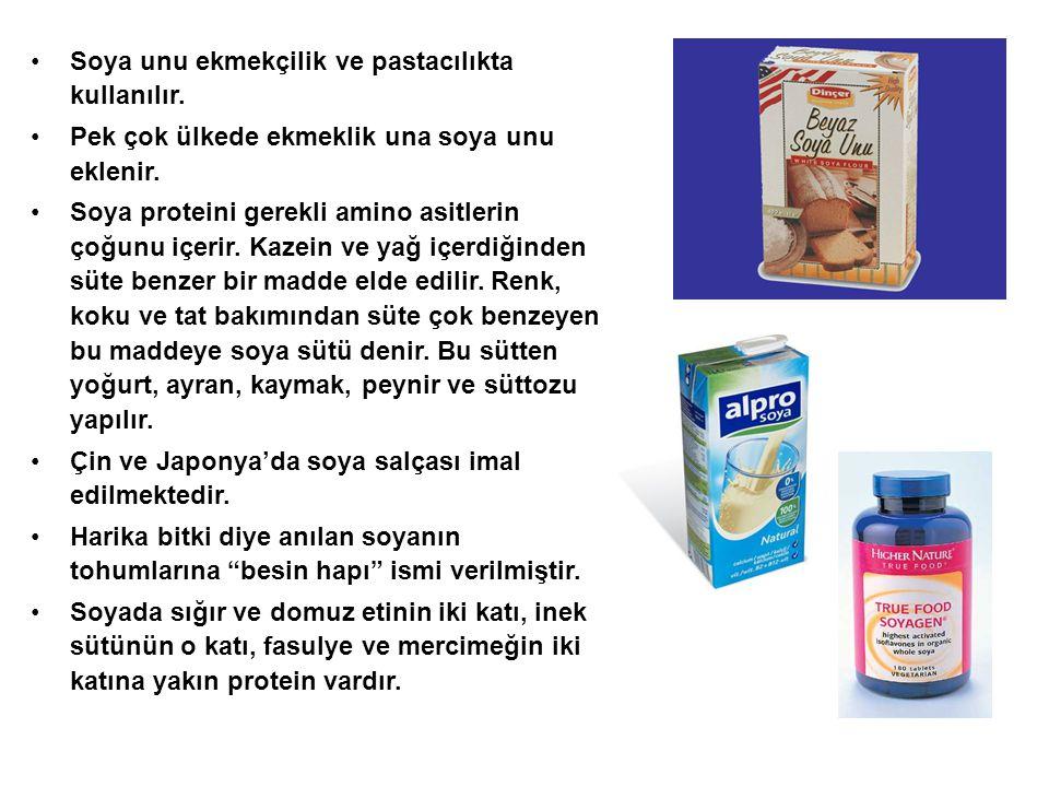 Soya unu ekmekçilik ve pastacılıkta kullanılır. Pek çok ülkede ekmeklik una soya unu eklenir. Soya proteini gerekli amino asitlerin çoğunu içerir. Kaz