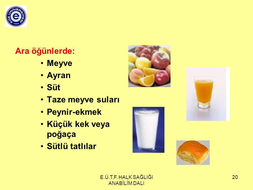 E.Ü.T.F. HALK SAĞLIĞI ANABİLİM DALI 20 Ara öğünlerde: Meyve Ayran Süt Taze meyve suları Peynir-ekmek Küçük kek veya poğaça Sütlü tatlılar