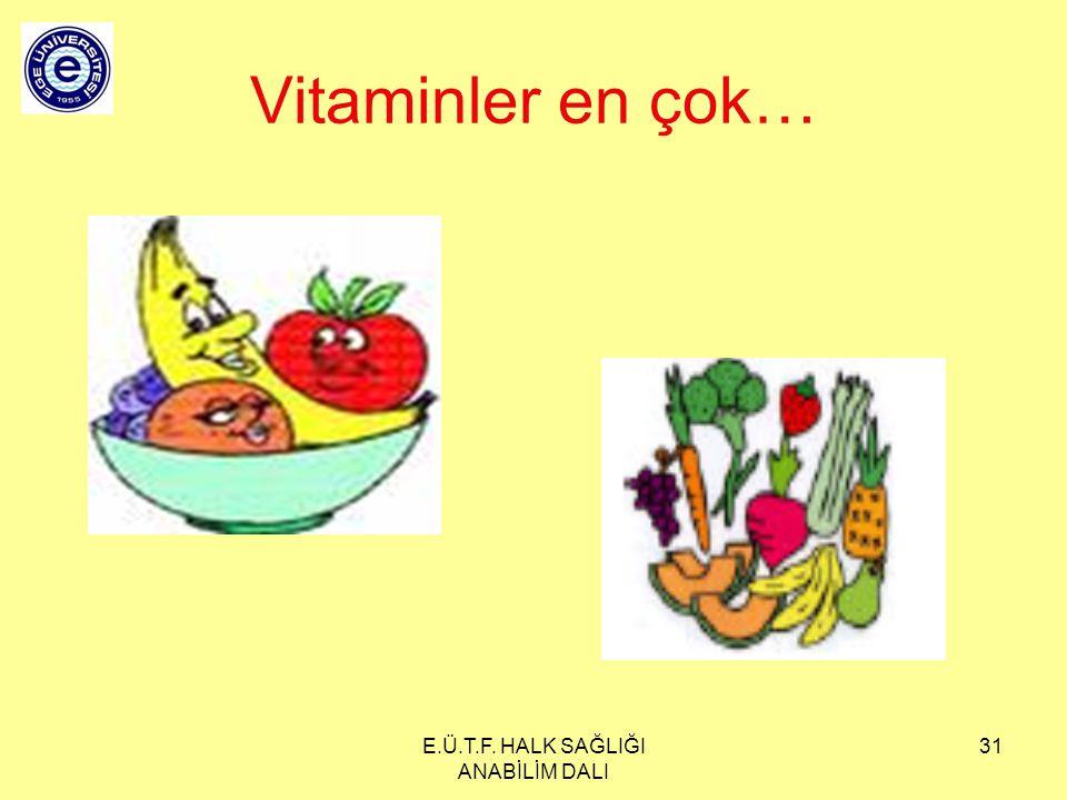 E.Ü.T.F. HALK SAĞLIĞI ANABİLİM DALI 31 Vitaminler en çok…
